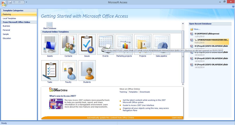 Membuat Database Dengan Microsoft Acces 2007 uniks harianja