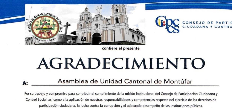 "ASAMBLEA DE UNIDAD CANTONAL DE MONTUFAR ""AUCM"" reconocida como Asamblea Local del Cantón Montúfar"