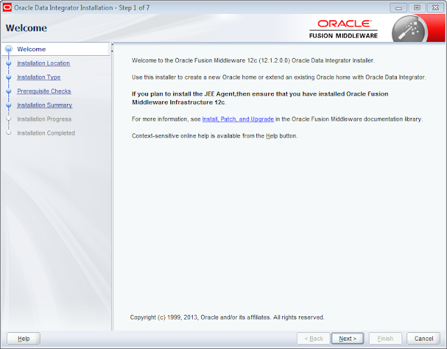 ODI 12c Installer Welcome Page
