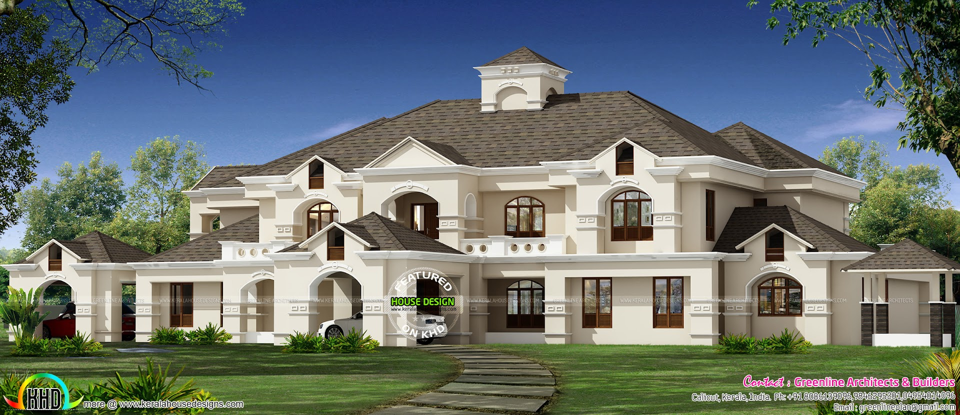 911 sq yd luxury colonial house architecture kerala home for Luxury home architects
