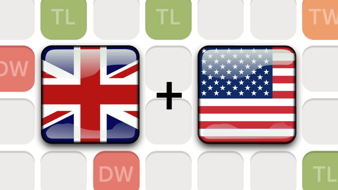 British flag and American flag on Words With Friends board