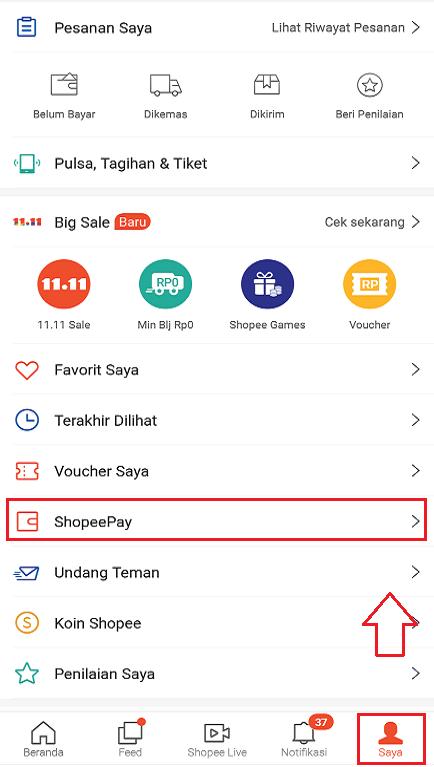 Fitur ShopeePay Pada Menu Saya di Aplikasi Marketplace Shopee Smartphone.
