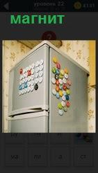В углу квартиры на кухне стоит высокий холодильник. Дверцы обклеены маленькими магнитами и на стене