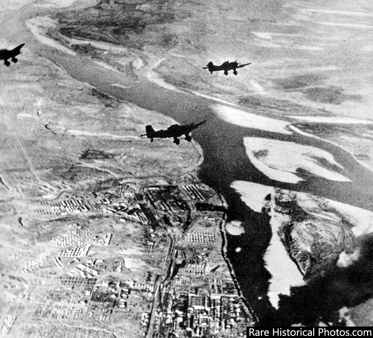 German Stuka Dive bombers about to bomb Stalingrad. 1942.