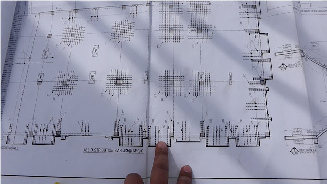 Balconies reinforcement detail with drawing plan