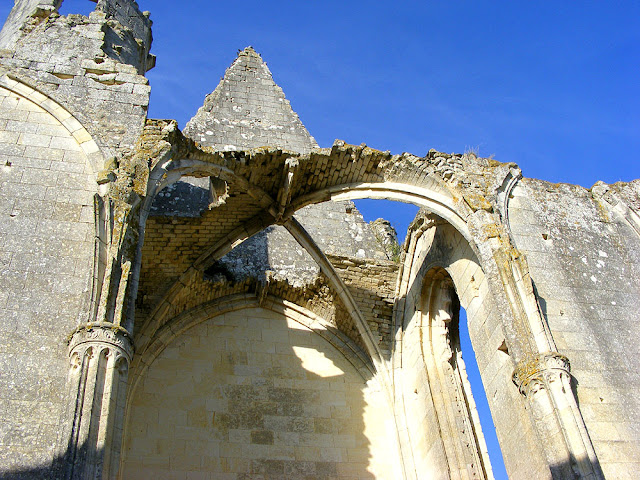 Vaulted transept in the ruined church of Les Roches Tranchelion. Photo by Loire Valley Time Travel.