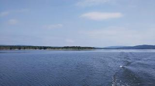 船から見る朱鞠内湖