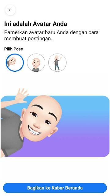 Memilih pose Avatar