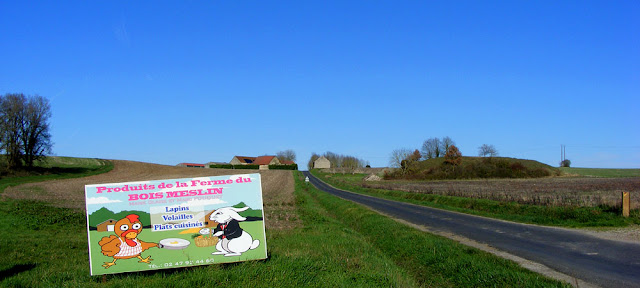Sign advertising a rabbit and poultry farm.  Indre et Loire, France. Photographed by Susan Walter. Tour the Loire Valley with a classic car and a private guide.