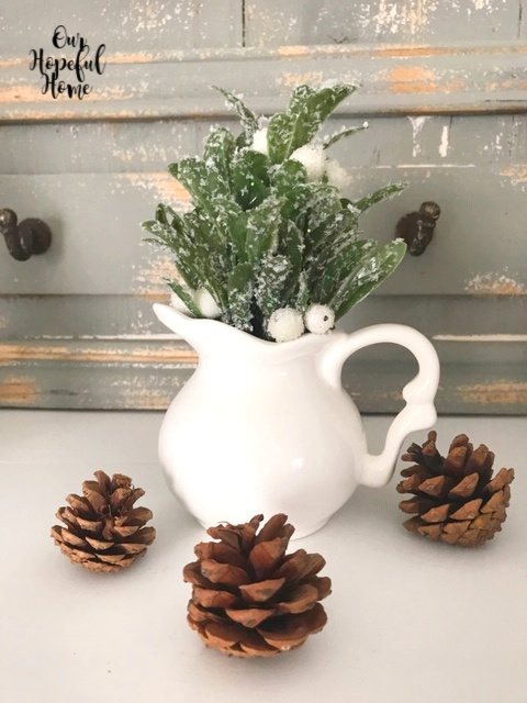 pine cones white ironstone pitcher mantel decor