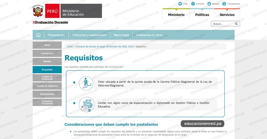 CONCURSO DIRECTOR DE UGEL: Requisitos y Consideraciones que deben cumplir los Postulantes