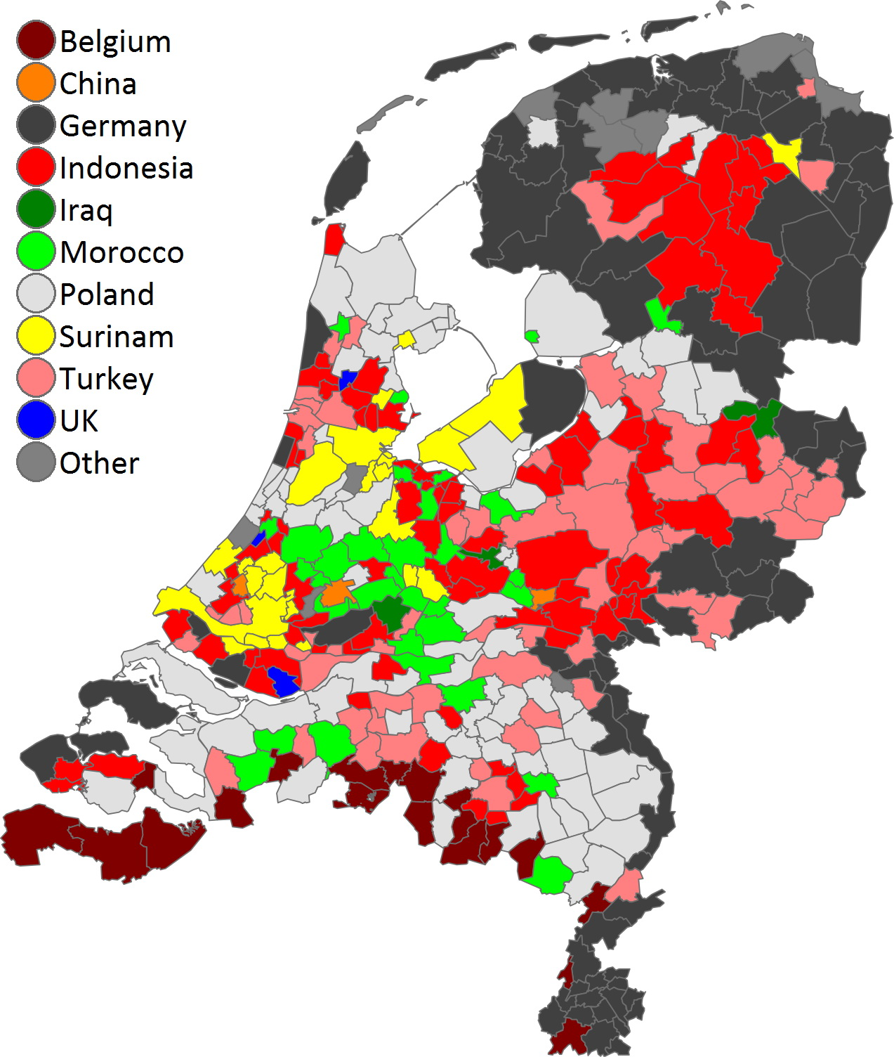 Most common foreign country of birth in the Netherlands per municipality