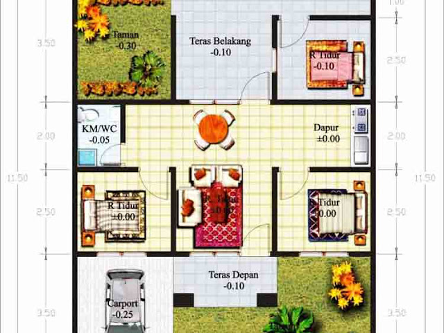 house plans 3 rooms long