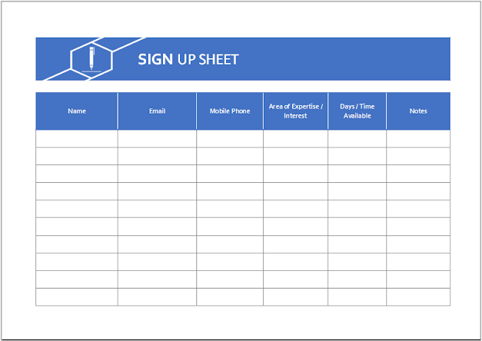 Sign Up Sheet Template for Excel Free Download