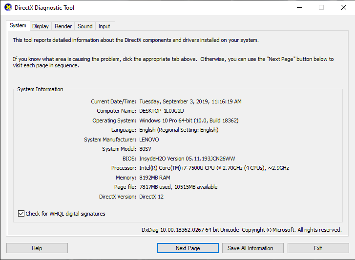 كيف معرفة مواصفات الكمبيوتر و اللاب توب باستخدام DirectX Diagnostic Tool