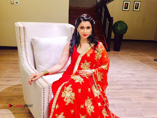 Actress Mannara Chopra Pictures in Red Dress at Dubai 0005