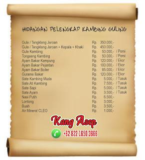 Hidangan pelengkap Kambing Guling Bandung
