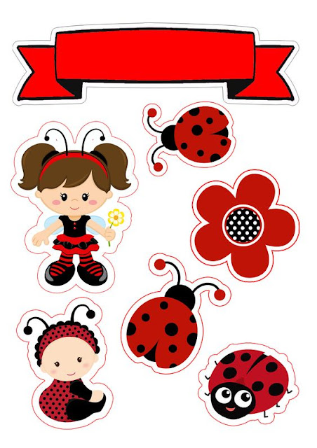Baby Dressed as Ladybug Free Printable Cake Toppers.
