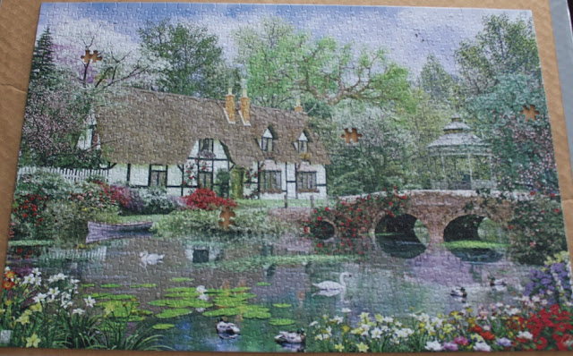 Finished puzzle with pieces missing