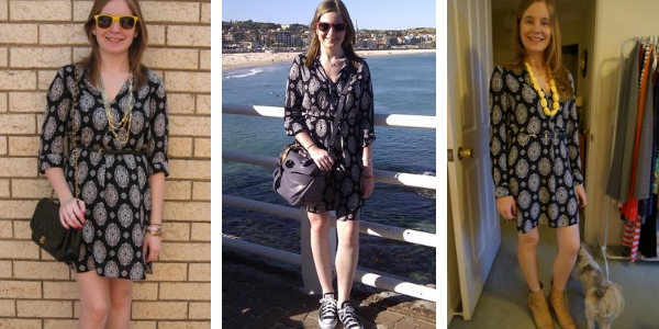 3 outfit ideas with a printed shift dress belted | away from the blue