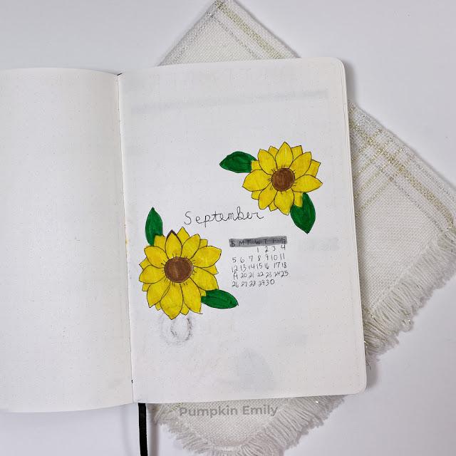 September sunflower themed bullet journal cover page