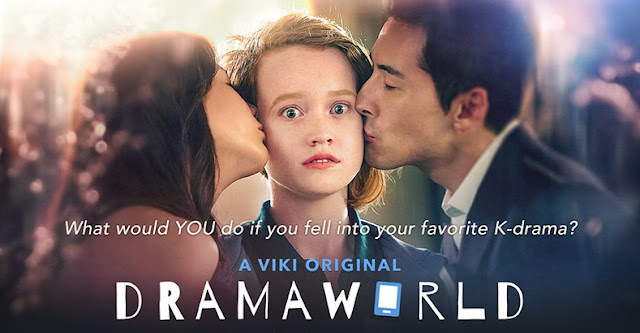 Banner for Dramaworld, featuring a wide-eyed white woman with two Korean people on either side of her, kissing her cheeks.