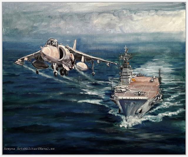 Óleo de un harrier despegando del portaaviones Principe de Asturias