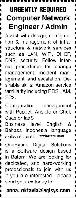 Lowongan Kerja PT. EQL Sys Indonesia