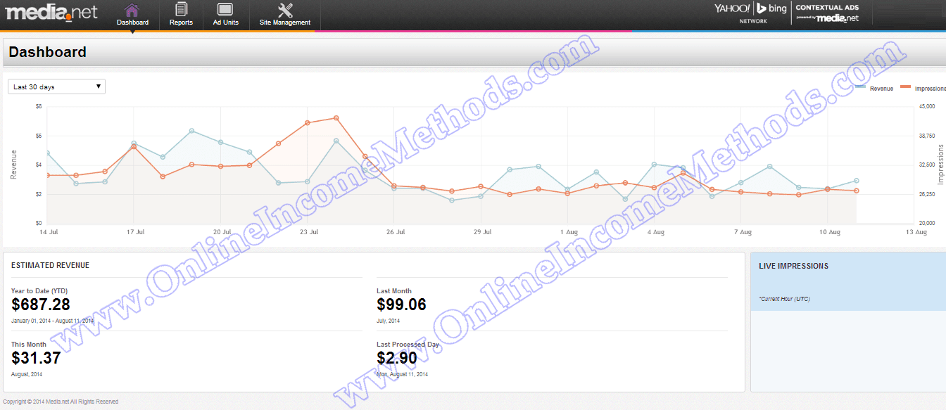 Make Money Online - Media.net Earnings Dashboard