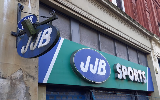 The old JJB Sports shop in Leigh, Greater Manchester. December 2020