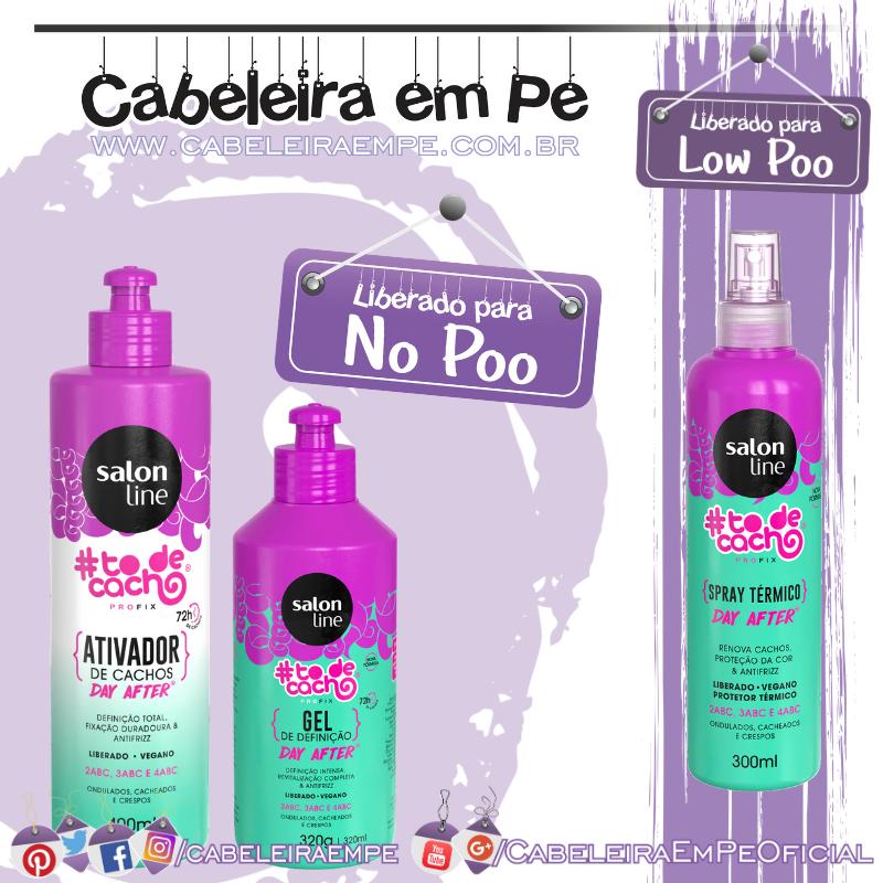 Ativador de Cachos e Gel Líquido (liberados para No Poo) e Spray Térmico Day After #todecacho - Salon Line (liberado para Low Poo)