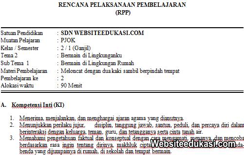 RPP PJOK Kelas 2 Tema 2 Kurikulum 2013 Revisi 2019