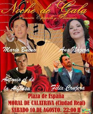 Plaza de España sábado 10 de agosto a las 10 de la noche, Moral de Calatrava (Ciudad Real)