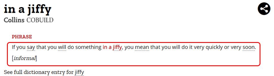 Penjelasan In a Jiffy