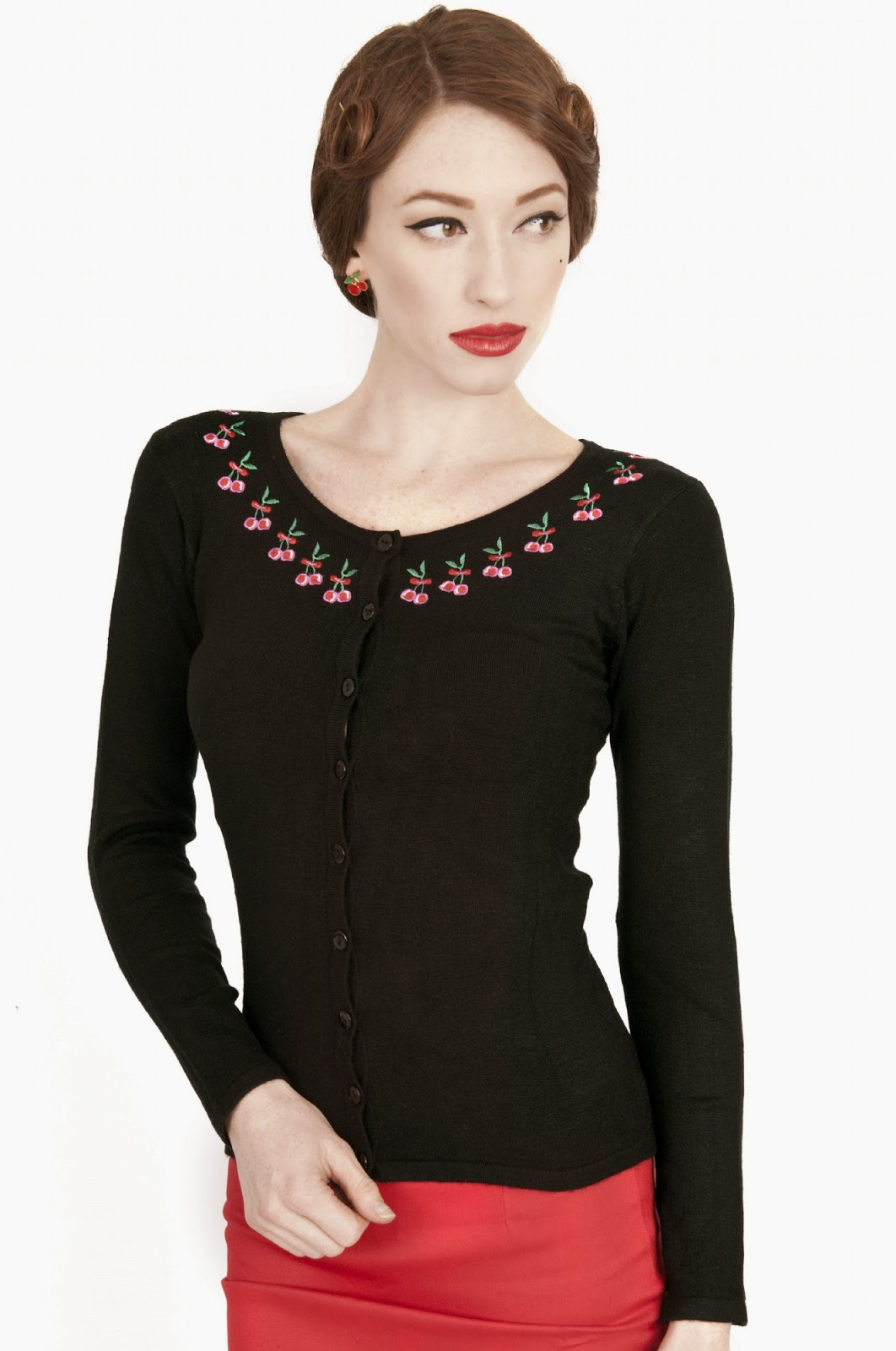 Black fitted cardigan with tiny cherries, perfect with skirts