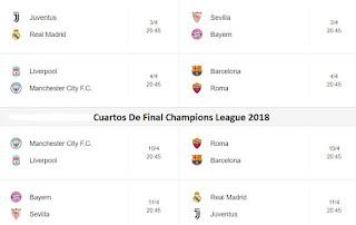 Calendario de la Champions League Cuartos de final UEFA 2018. Juegos de los Cuartos de Final Champions League UEFA 2018