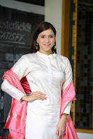 Mannara Chopra in Silky White Salwar Suit with Pink Chunni Latest Exclusive Pics March 2017 ~  046.JPG