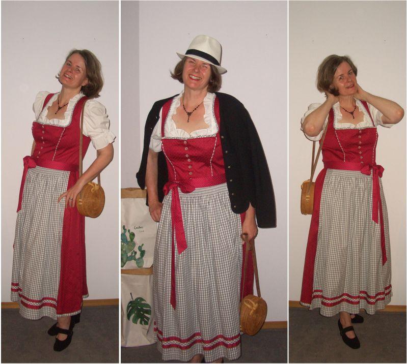 Langes Dirndl in Rot für große Frauen und schöne Feste