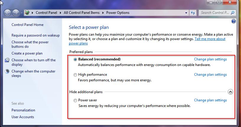 change power plan to run pc faster