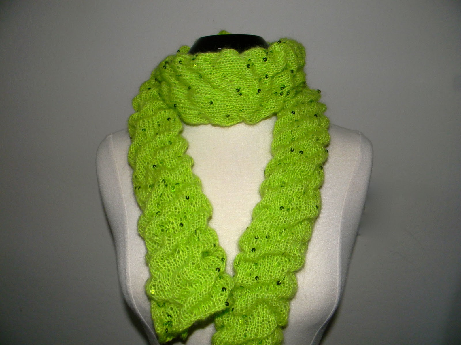 Louise Knits Gathered Scarf Easy Knit Pattern