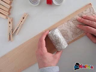 rivestire legno con washi tape