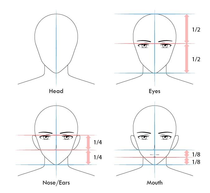 Proporsi wajah pria anime dan gambar langkah demi langkah