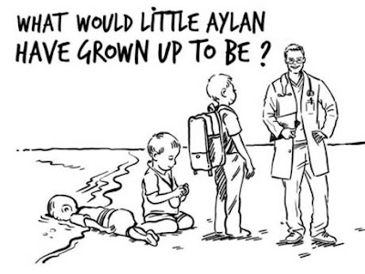 Jordan, Queen Rania, Aylan Kurdi, political cartoon, SumRando Cybersecurity, VPN, Secure Messenger
