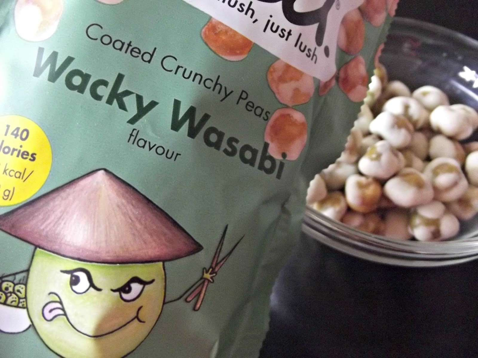 Taking the Pea coated crunchy pea snacks wacky wasabi