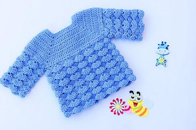 2 - Imagen chambrita de abanicos en relieve a crochet. Majovel crochet