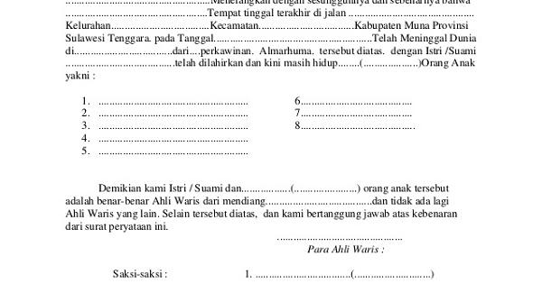 Contoh Surat Keterangan Hak Waris Yang Sah Secara Hukum