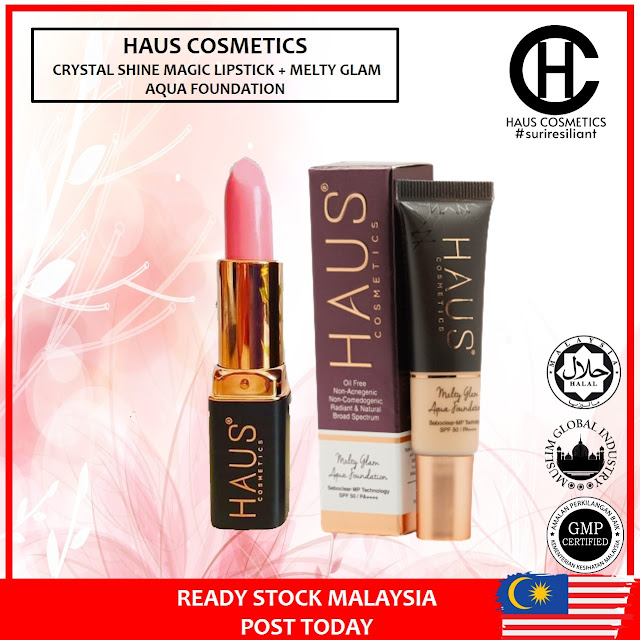 HAUS COSMETICS COMBO CRYSTAL SHINE MAGIC LIPSTICK RM29 + MELTY GLAM AQUA FOUNDATION RM43