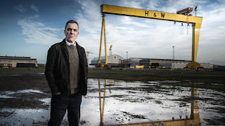 James Nesbitt in front of the Harland and Wolfe crane