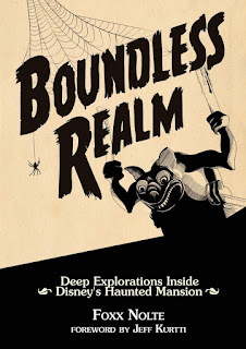 Book cover of Boundless Realm, showing a bat statue holding two candles.
