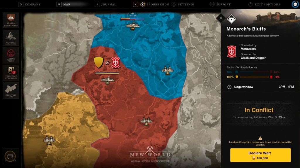This is how it looks on the map when one or the other faction controls areas.